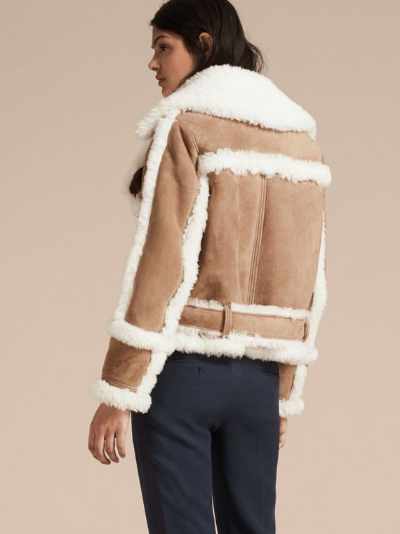 Camel Cropped Suede and Shearling Aviator Jacket - cell image 2