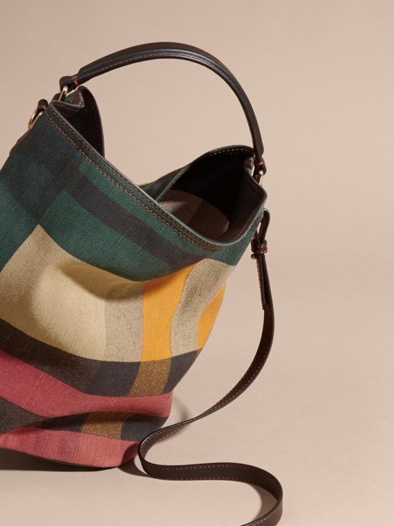 Multicolour The Medium Ashby in Printed Canvas Check and Leather - cell image 3