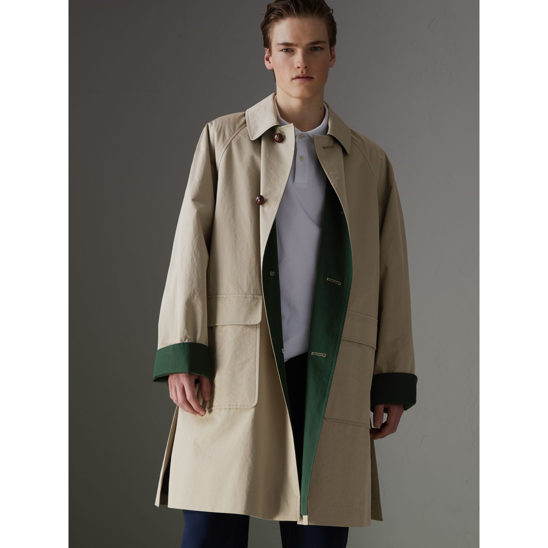Reissued Waxed Cotton Gabardine Car Coat in Khaki - Men | Burberry - gallery image 7