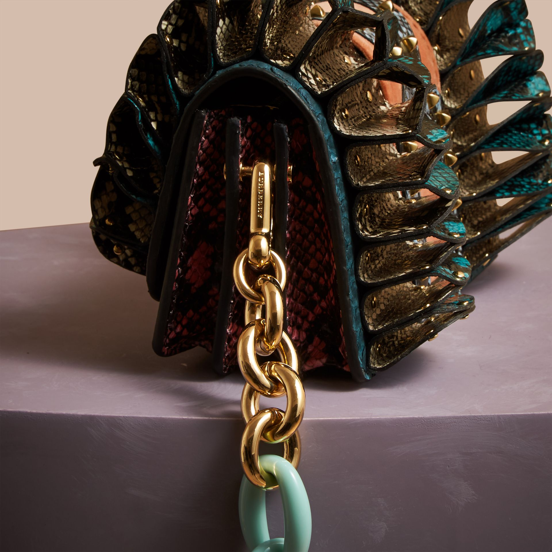 Teal The Ruffle Buckle Bag in Snakeskin and Velvet - gallery image 2
