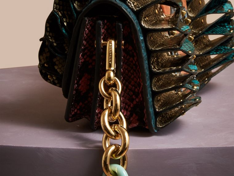 Teal The Ruffle Buckle Bag in Snakeskin and Velvet - cell image 1