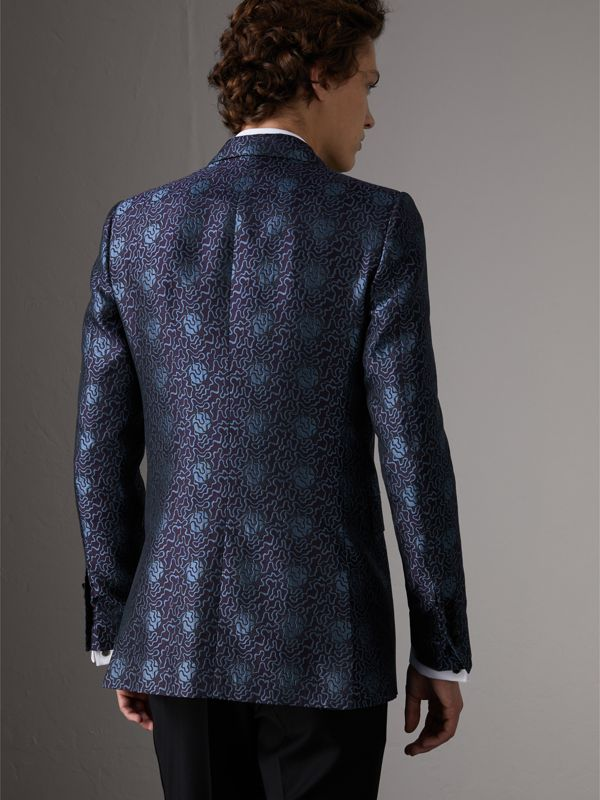 Slim Fit Swirl Silk Cotton Jacquard Evening Jacket in Steel Blue - Men | Burberry United Kingdom - cell image 2