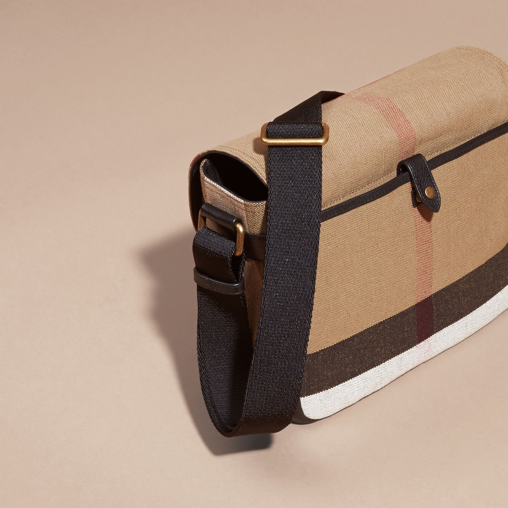 Small Canvas Check Messenger Bag in Black - Men | Burberry Hong Kong - gallery image 4