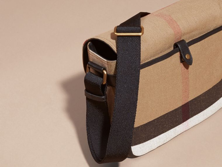 Small Canvas Check Messenger Bag in Black - Men | Burberry United Kingdom - cell image 4