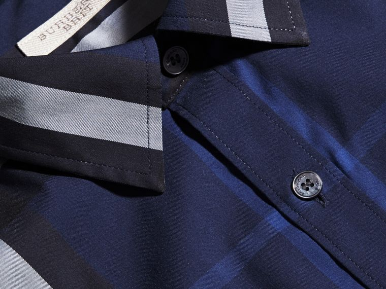 Short-sleeved Check Stretch Cotton Shirt in Indigo Blue - Men | Burberry - cell image 1