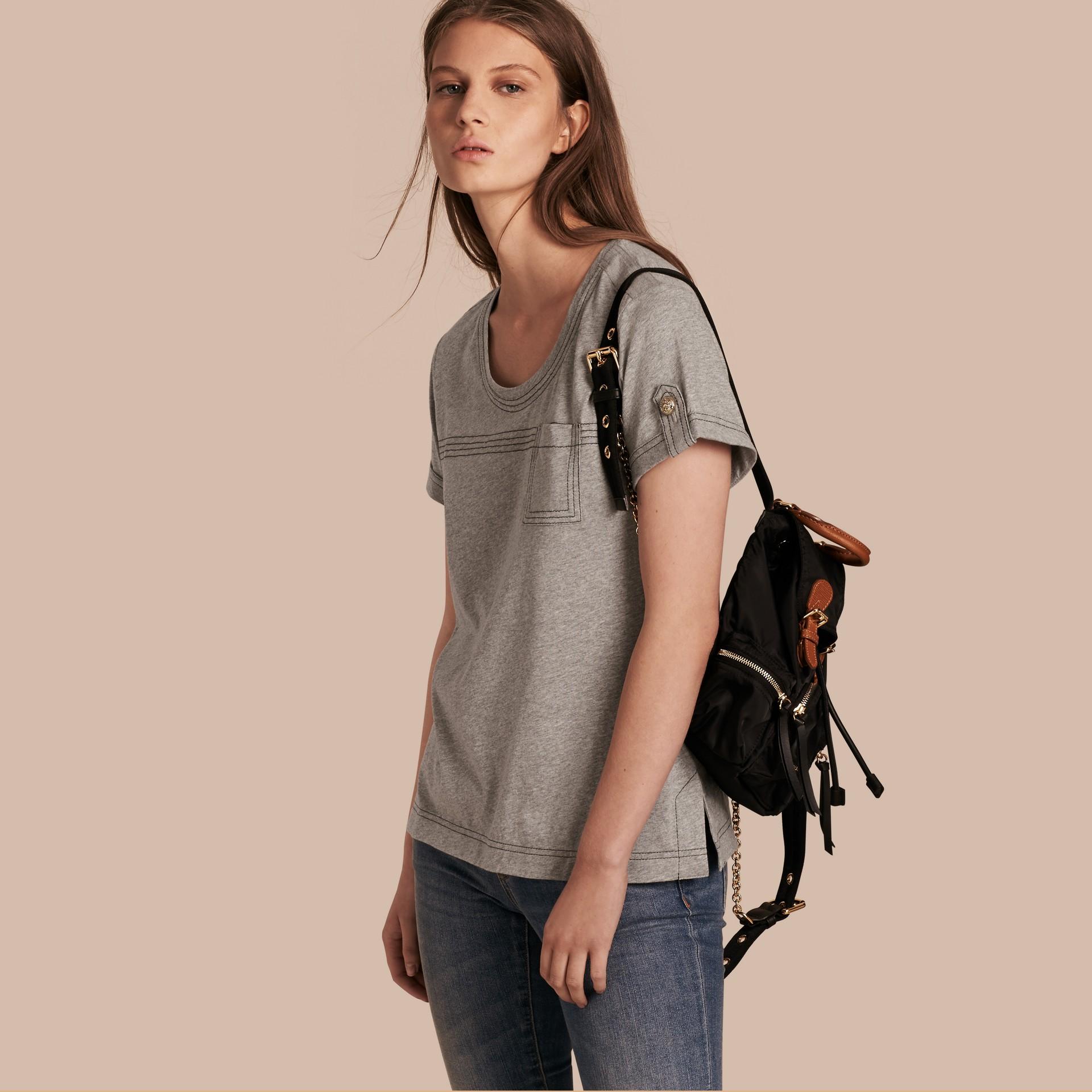 Pale grey melange Topstitch Detail Cotton T-shirt Pale Grey Melange - gallery image 1