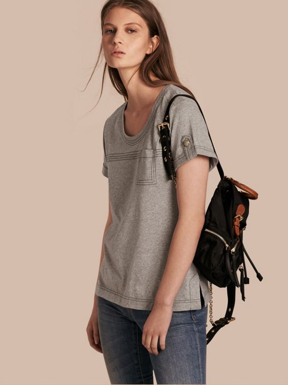 Topstitch Detail Cotton T-shirt Pale Grey Melange