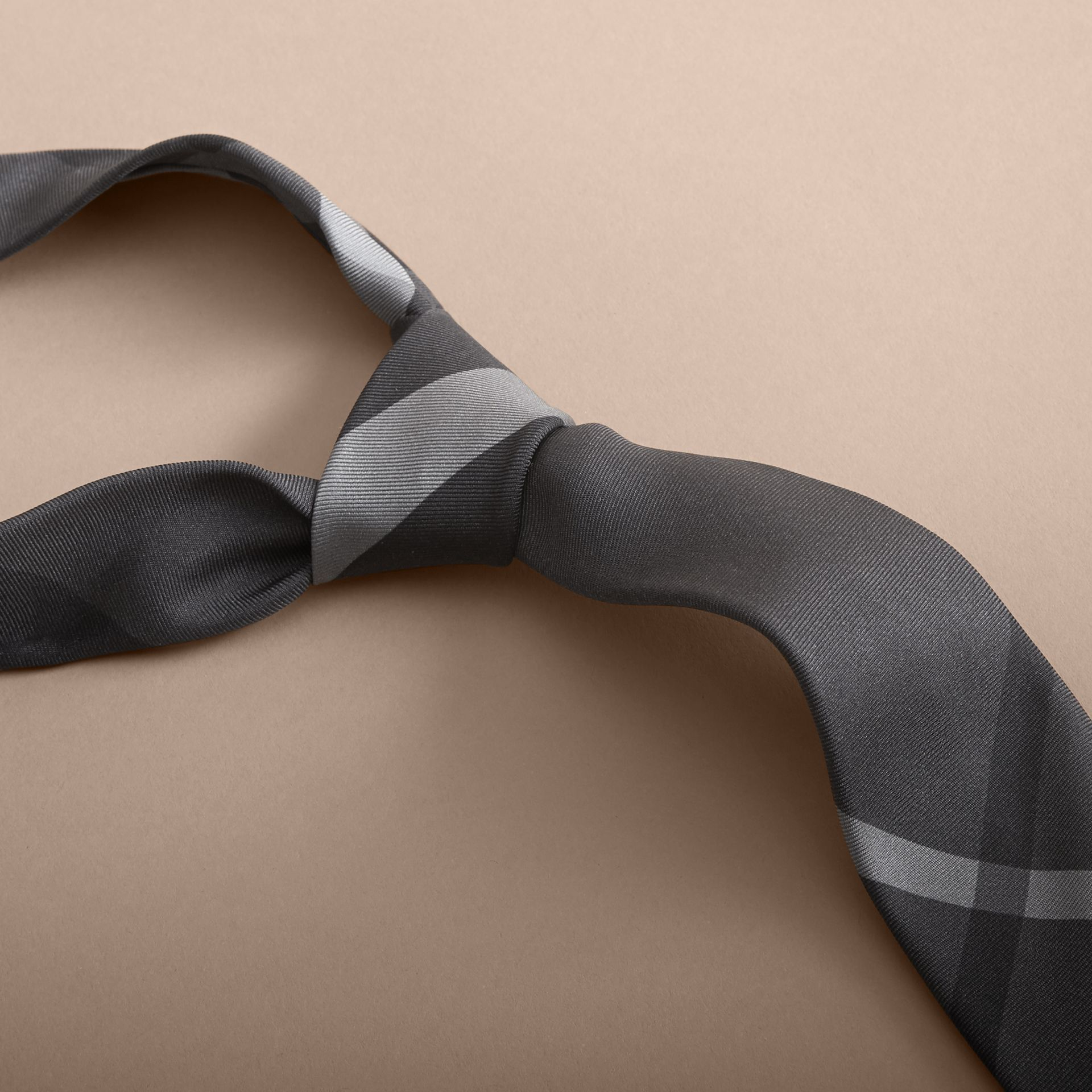 Dark charcoal Modern Cut Beat Check Silk Tie - gallery image 2
