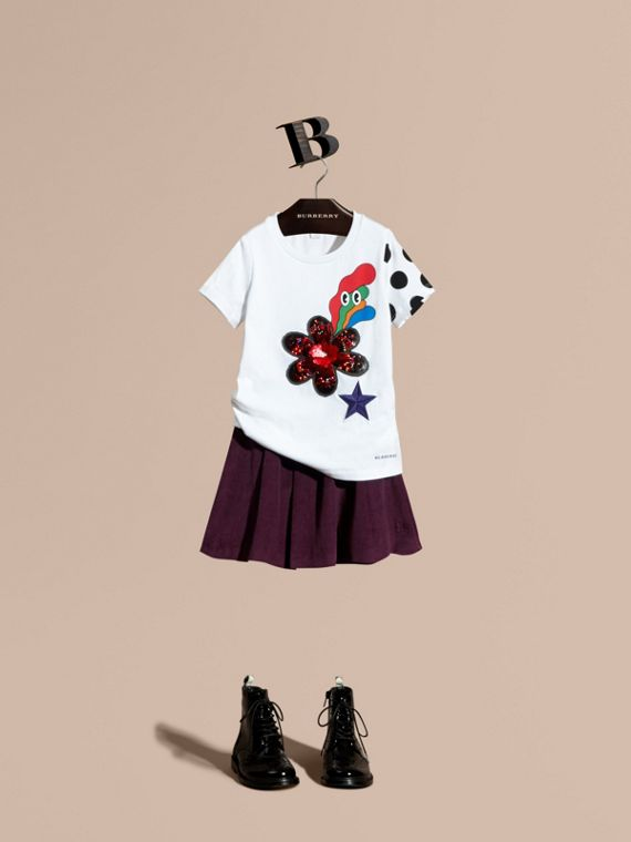 Embroidered Flower Burst Graphic Cotton T-Shirt