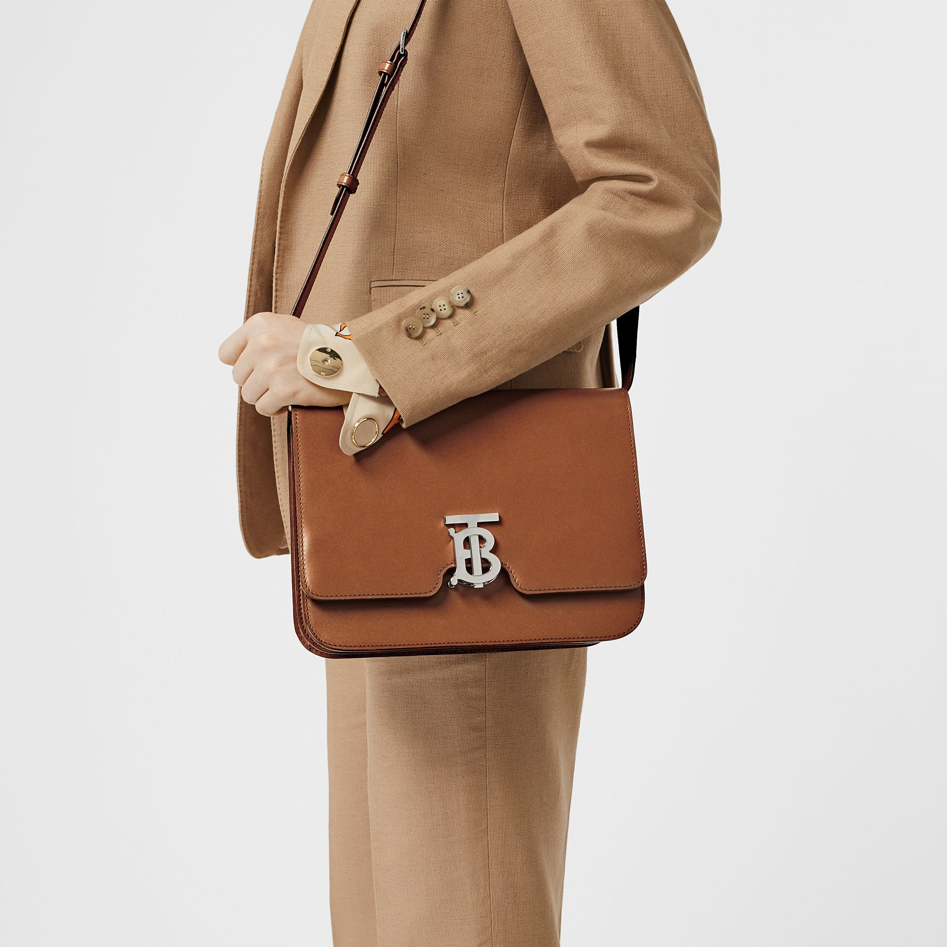 Medium Leather TB Bag in Malt Brown - Women | Burberry United States - gallery image 2