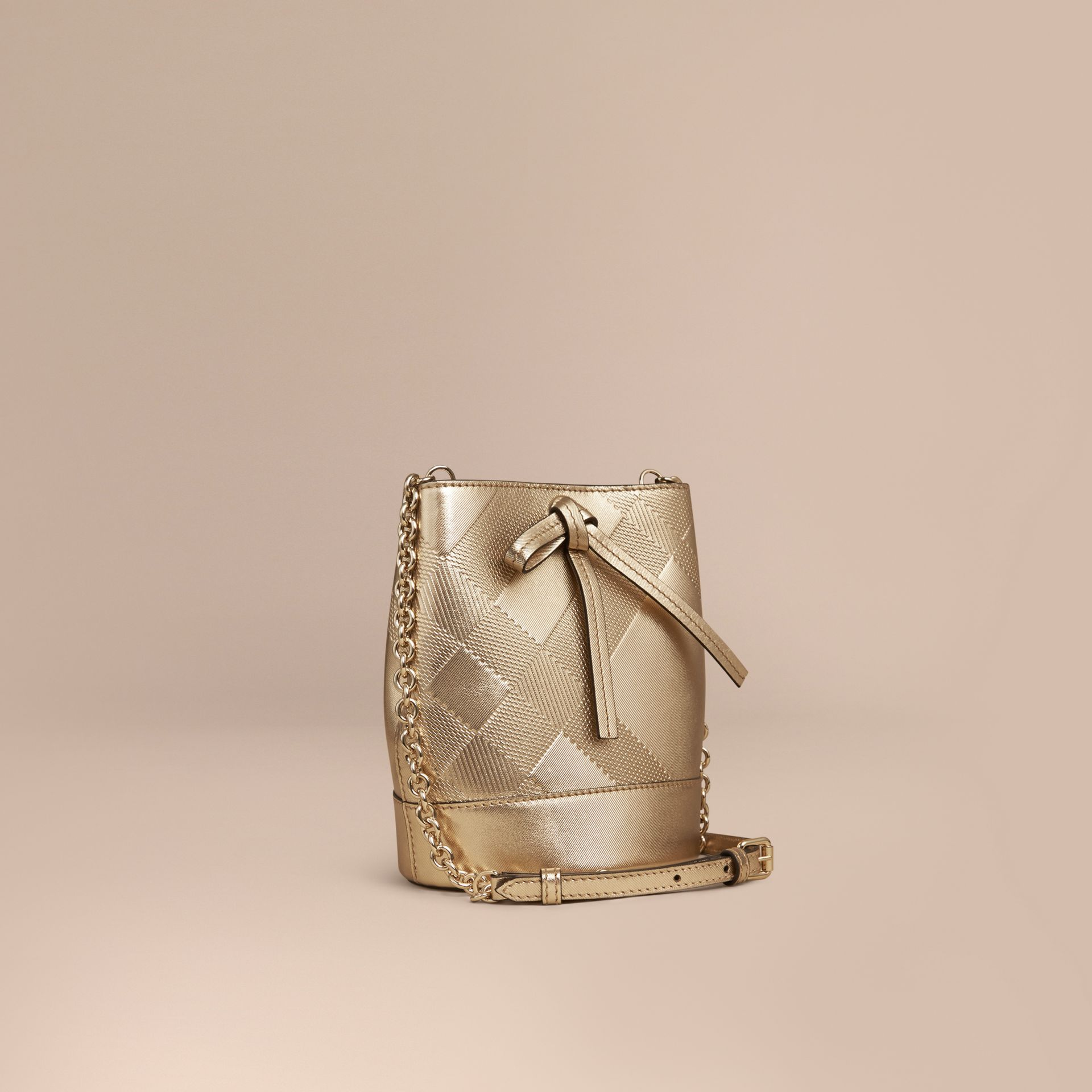 Gold The Baby Bucket in Embossed Check Leather - gallery image 1