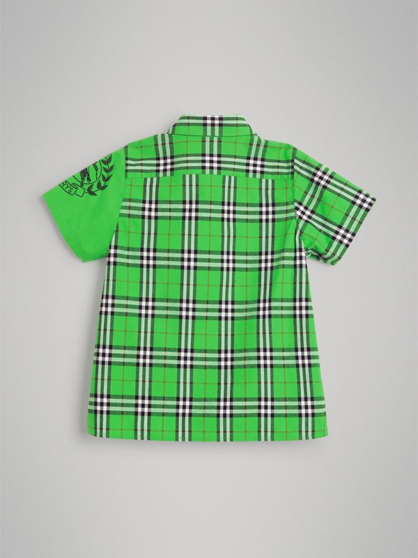 Short-sleeve Archive Logo Detail Check Cotton Shirt in Bright Grass Green | Burberry Australia - cell image 3