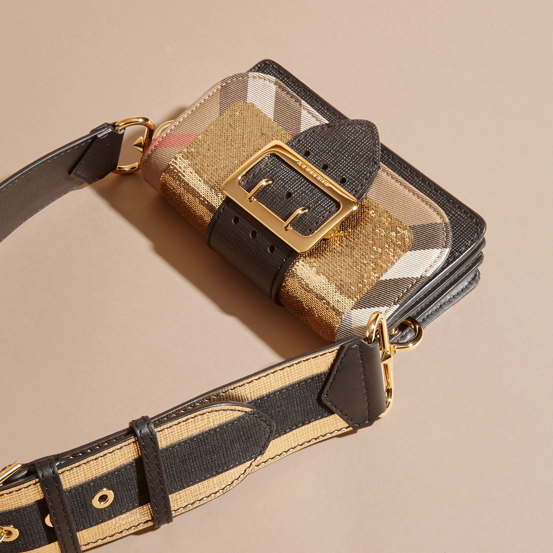 Gold/black The Small Buckle Bag in Sequins and House Check - gallery image 6