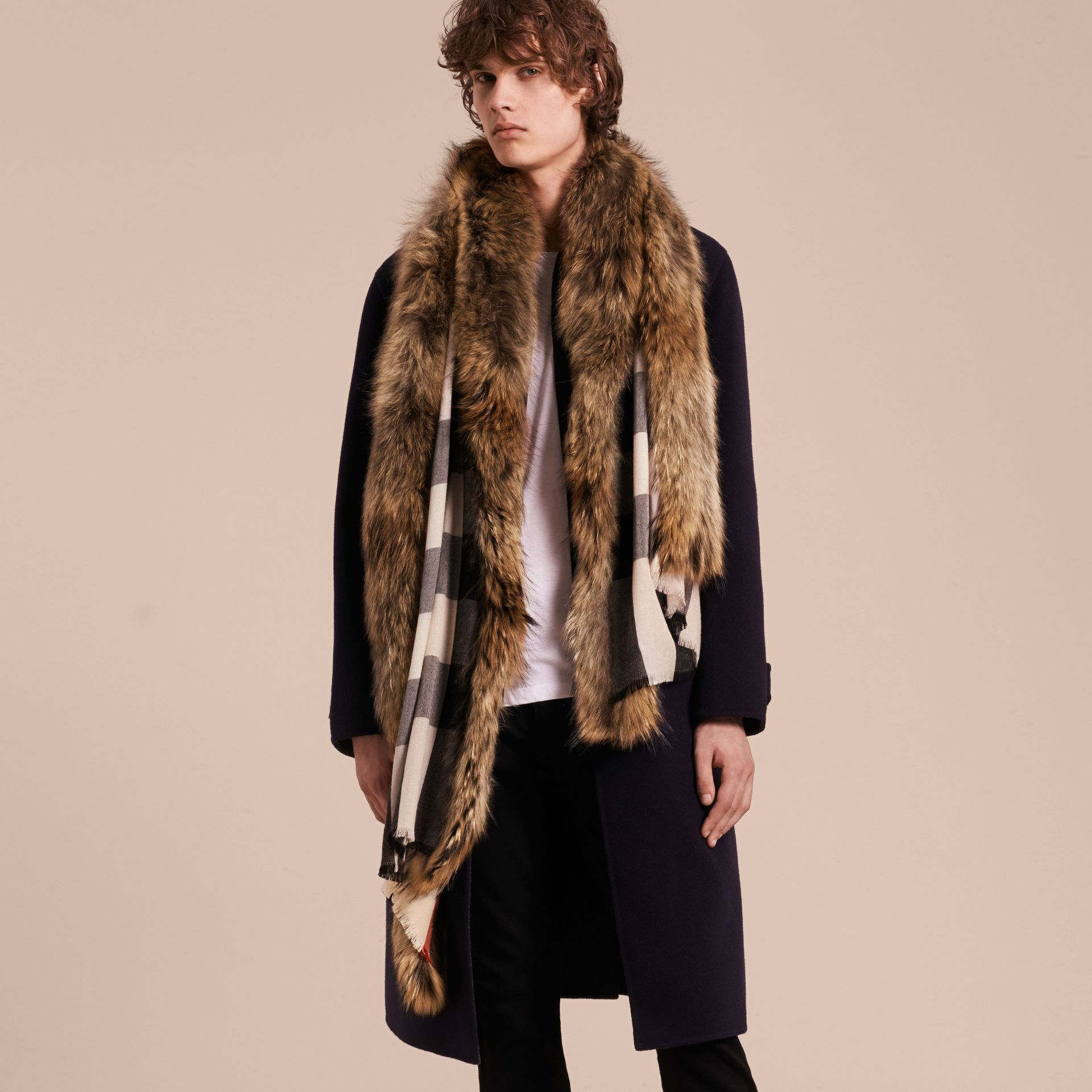 Raccoon Trim Check Wool Cashmere Scarf in Stone - gallery image 4