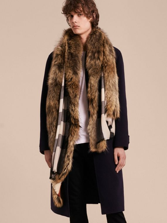 Raccoon Trim Check Wool Cashmere Scarf in Stone - cell image 3