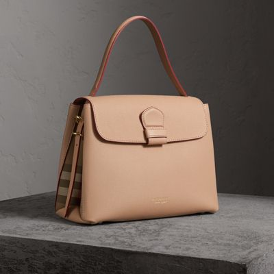medium grainy leather and house check tote bag in pale apricot women united  kingdom. BURBERRY 84d50f6782