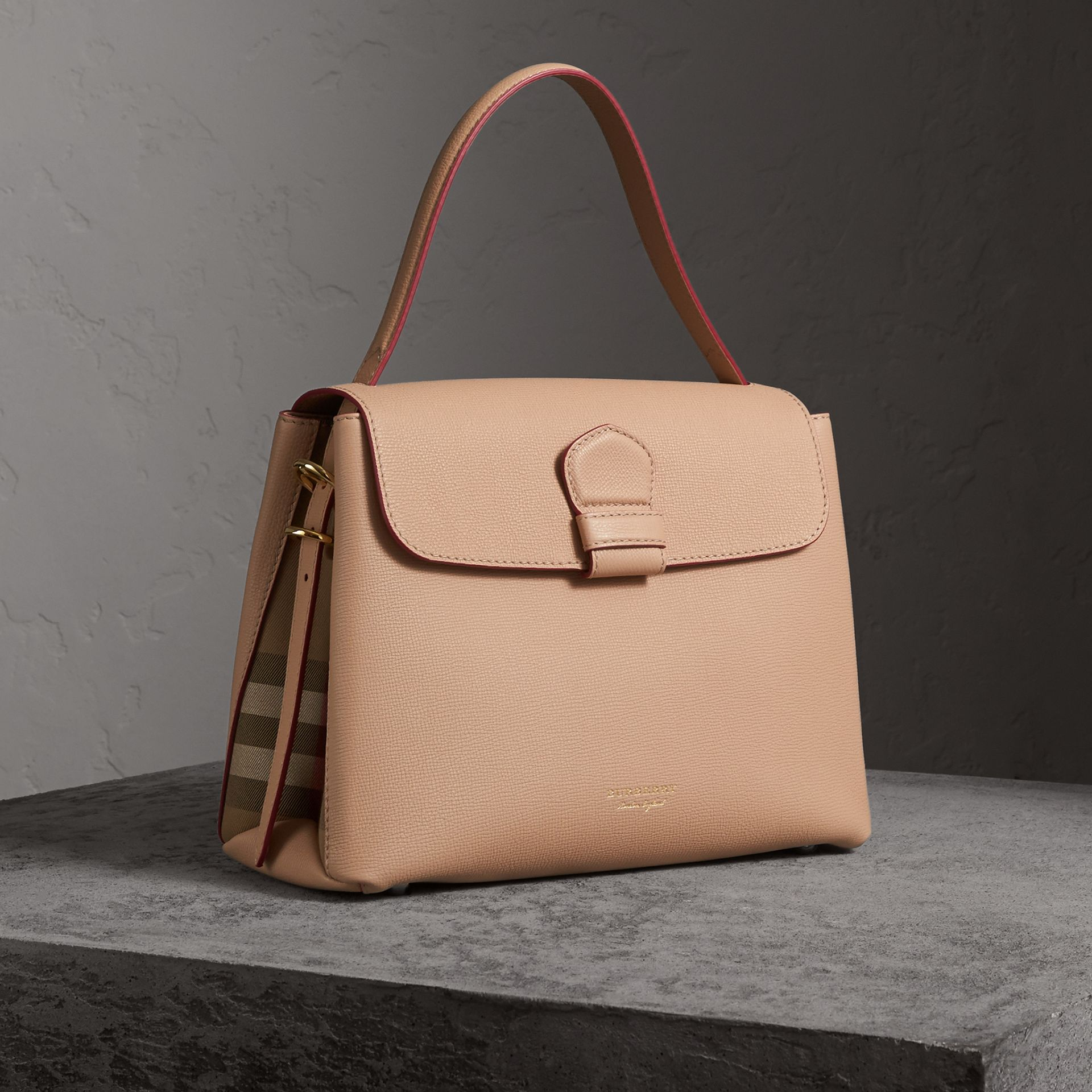 Medium Grainy Leather and House Check Tote Bag in Pale Apricot - Women | Burberry - gallery image 0