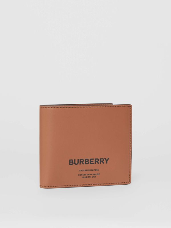 Horseferry Print Leather International Bifold Wallet in Malt Brown - Men | Burberry - cell image 3