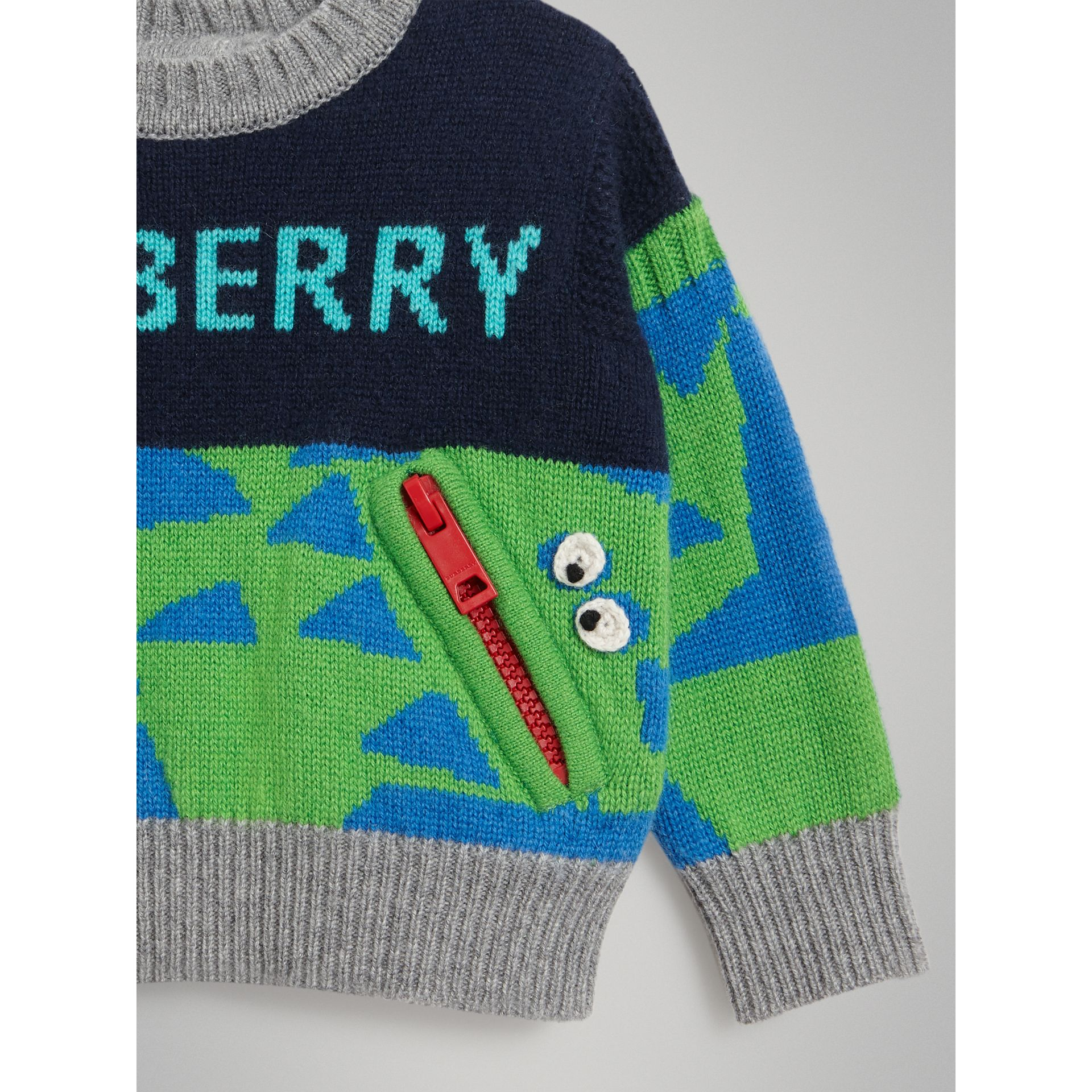 Monster Detail Intarsia Cashmere Sweater in Navy - Children | Burberry - gallery image 4