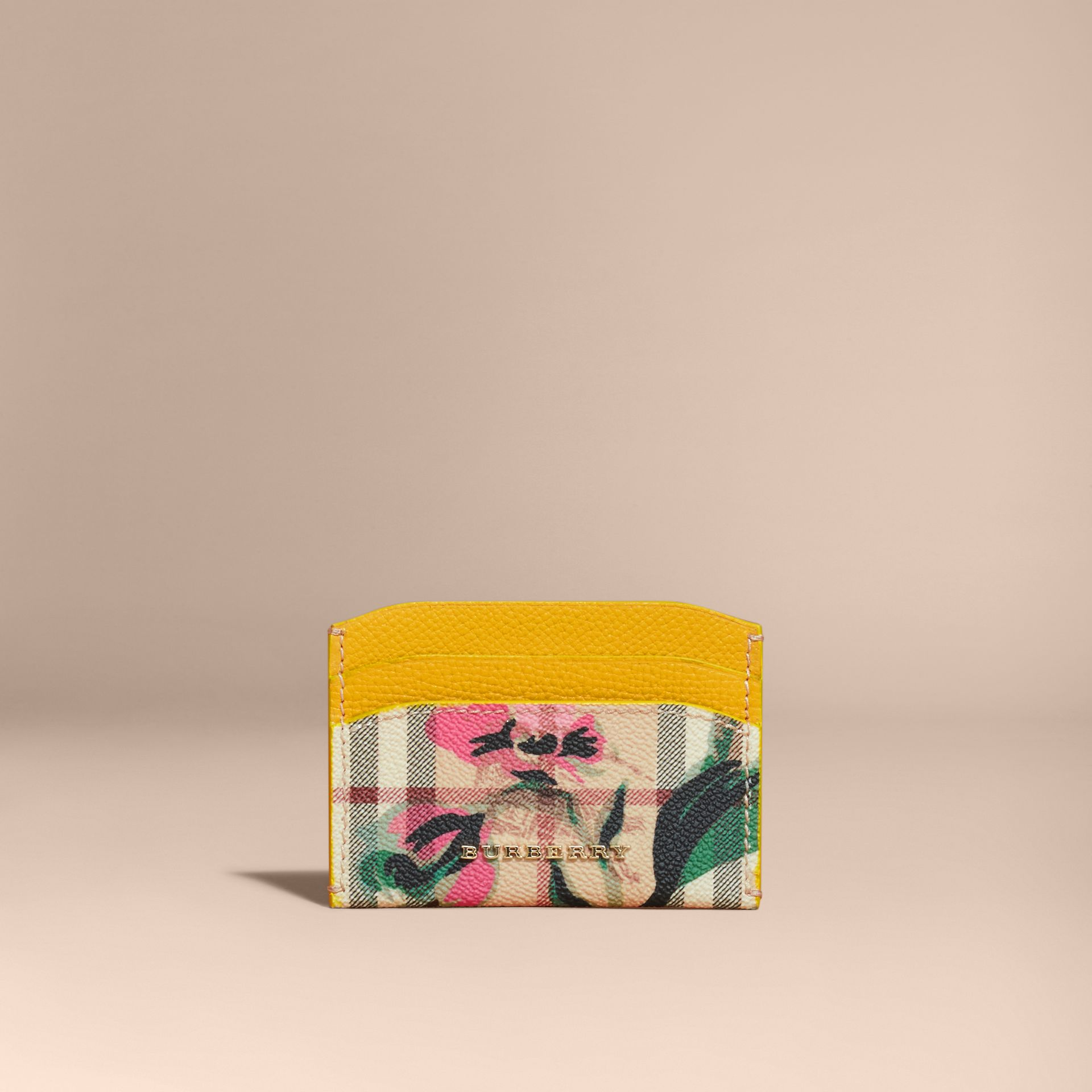Peony Rose Print Haymarket Check and Leather Card Case in Larch Yellow/emerald Green - gallery image 6