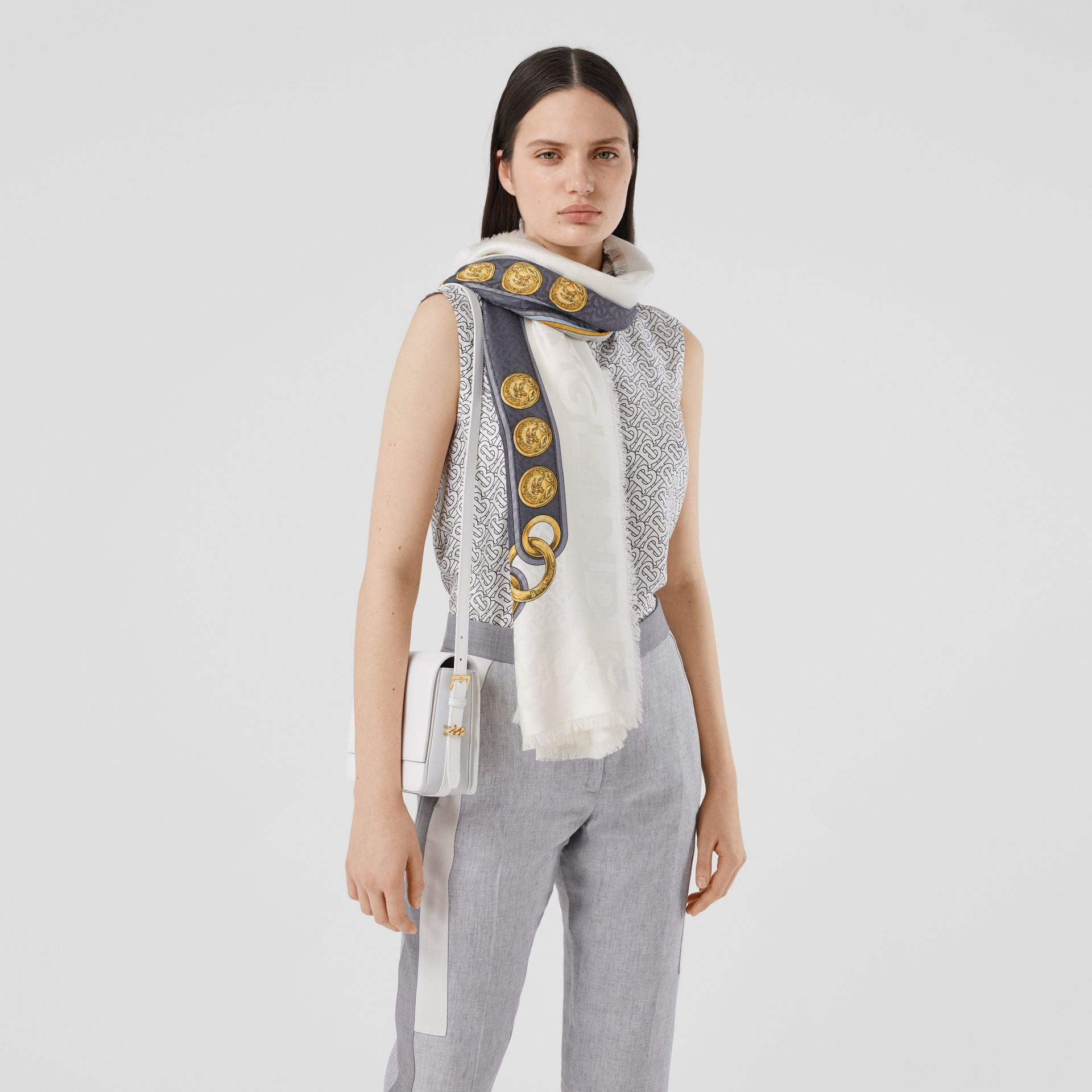 Archive Scarf Print Silk Wool Large Square Scarf in Grey | Burberry - gallery image 2