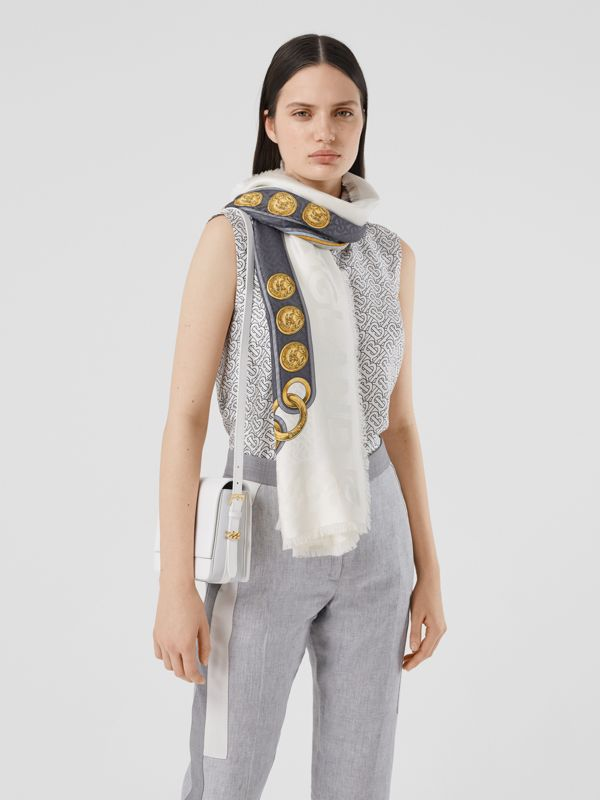Archive Scarf Print Silk Wool Large Square Scarf in Grey | Burberry - cell image 2