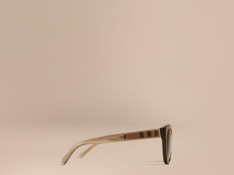 Black Check Detail Oval Frame Sunglasses Black - cell image 4