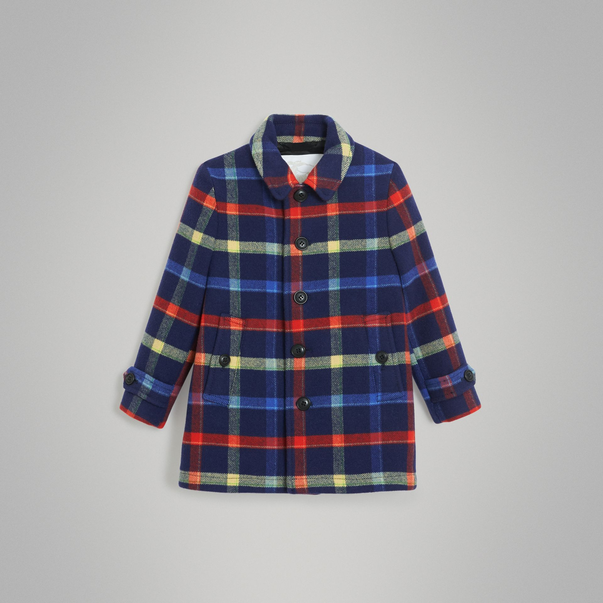 Check Double-faced Wool Coat in Navy - Children | Burberry - gallery image 0