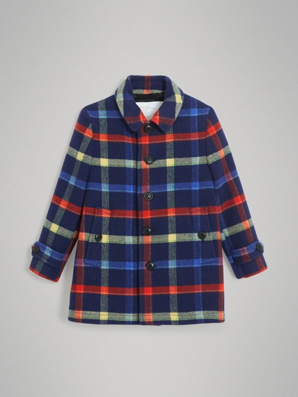 Cappotto in lana double face con motivo tartan (Navy)