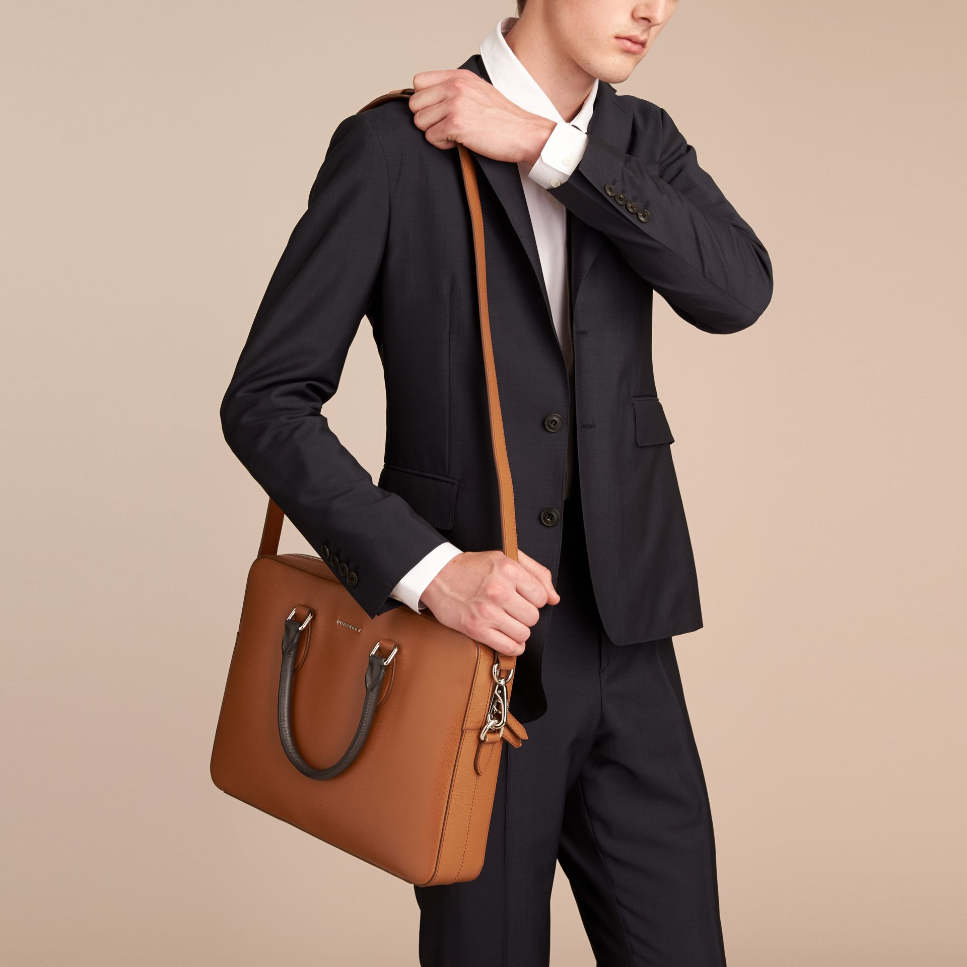 London Leather Briefcase in Tan/chocolate - Men | Burberry United Kingdom - gallery image 4