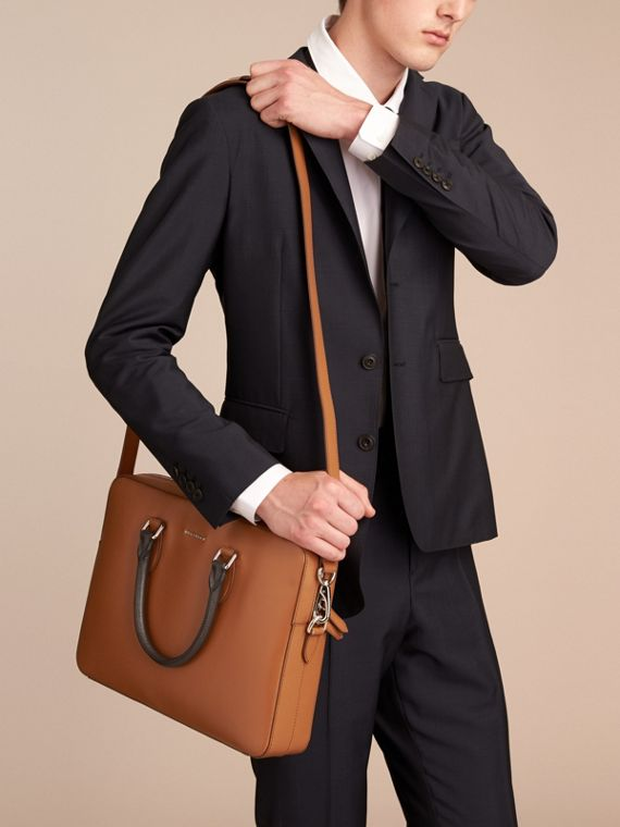 London Leather Briefcase in Tan/chocolate - Men | Burberry - cell image 3
