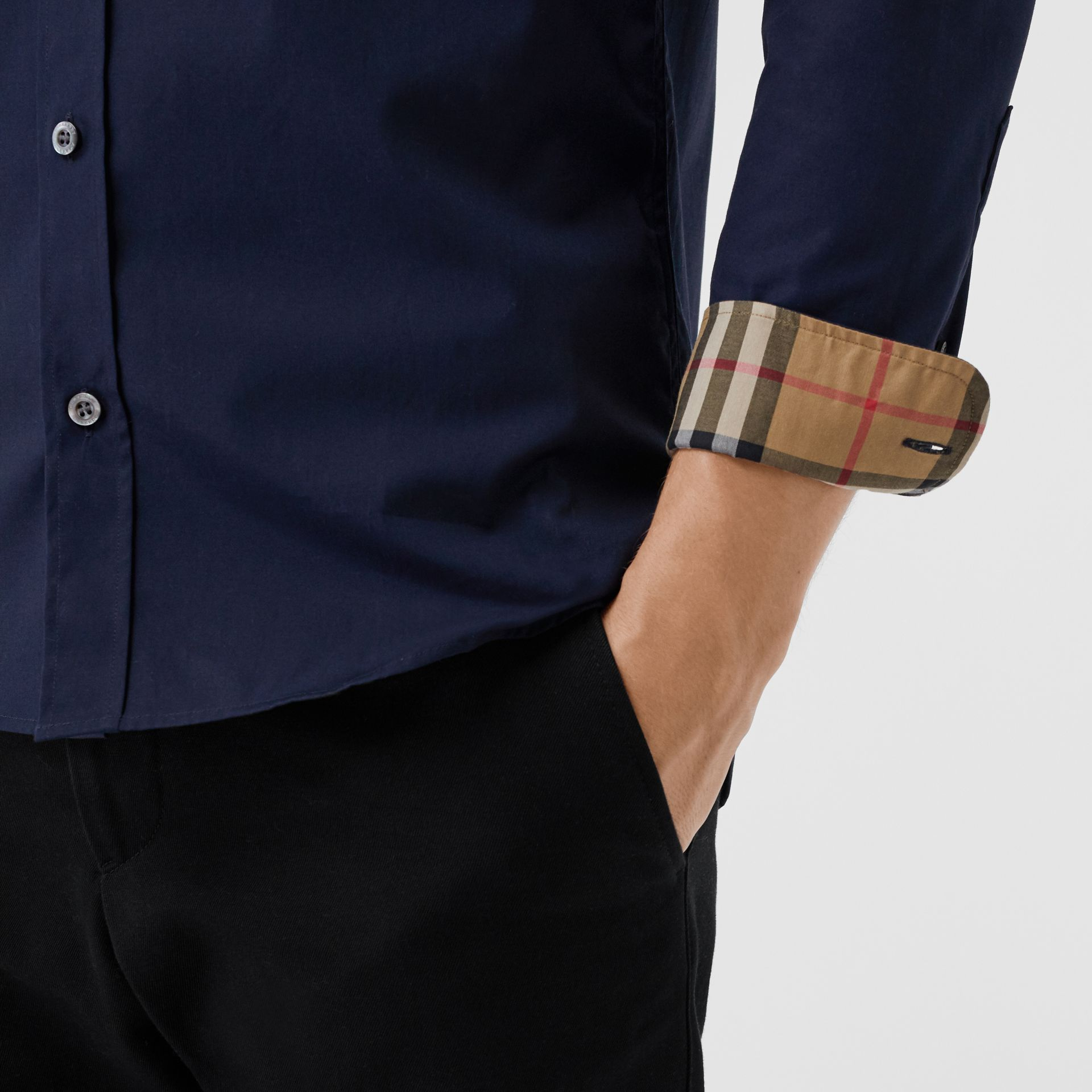 Check Cuff Stretch Cotton Poplin Shirt in Navy - Men | Burberry - gallery image 1