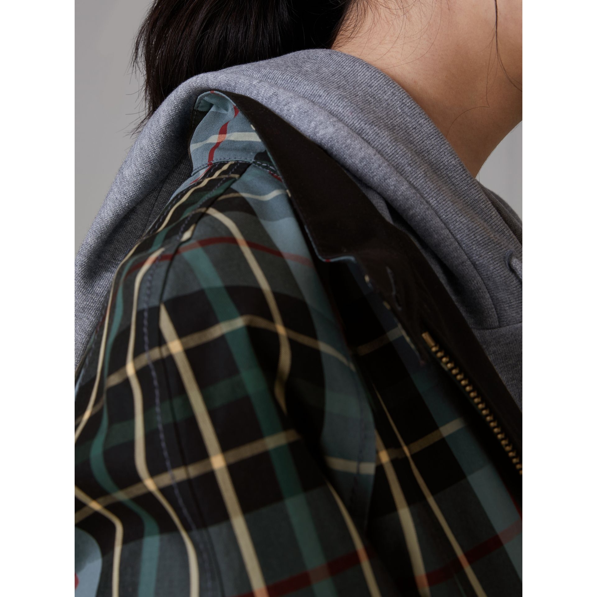 Tartan Cotton Gabardine Jacket in Cyan Blue - Women | Burberry - gallery image 1