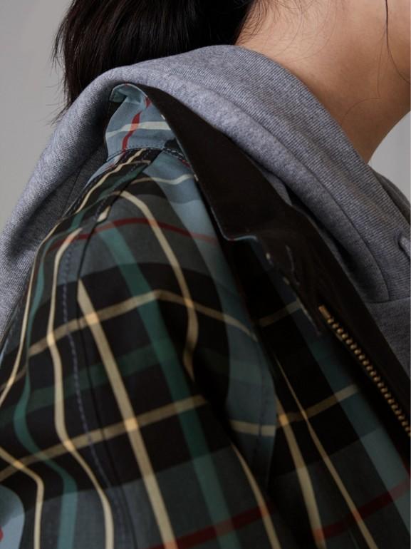 Tartan Cotton Gabardine Jacket in Cyan Blue - Women | Burberry - cell image 1