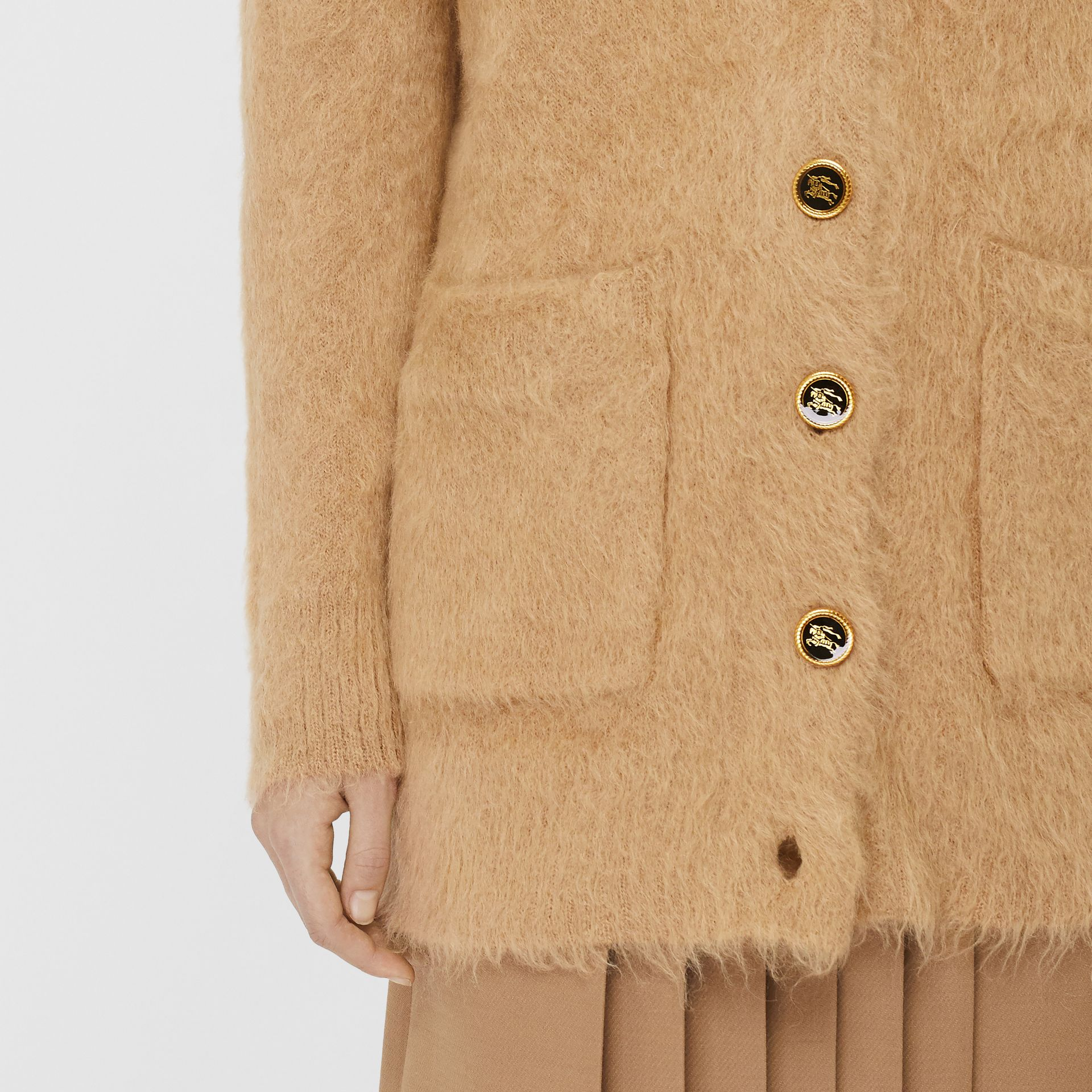 Silk Mohair Wool Blend V-neck Cardigan in Light Camel - Women | Burberry Australia - gallery image 4
