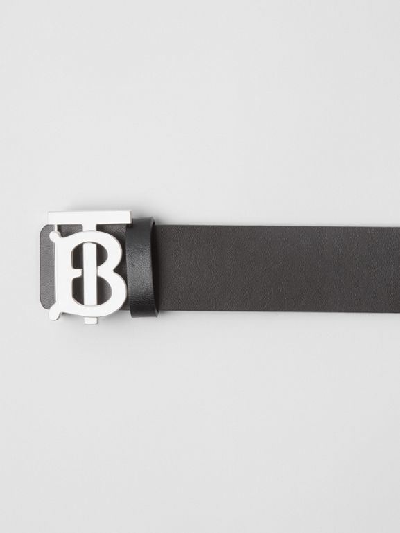 Reversible Monogram Motif Leather Belt in Black/malt Brown - Men | Burberry United Kingdom - cell image 1