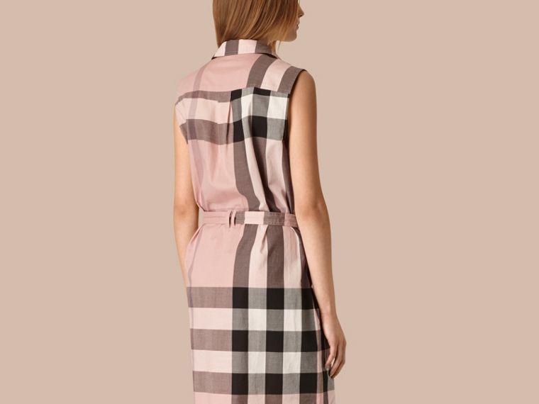 Antique pink Exploded Check Cotton Shirt Dress - cell image 1