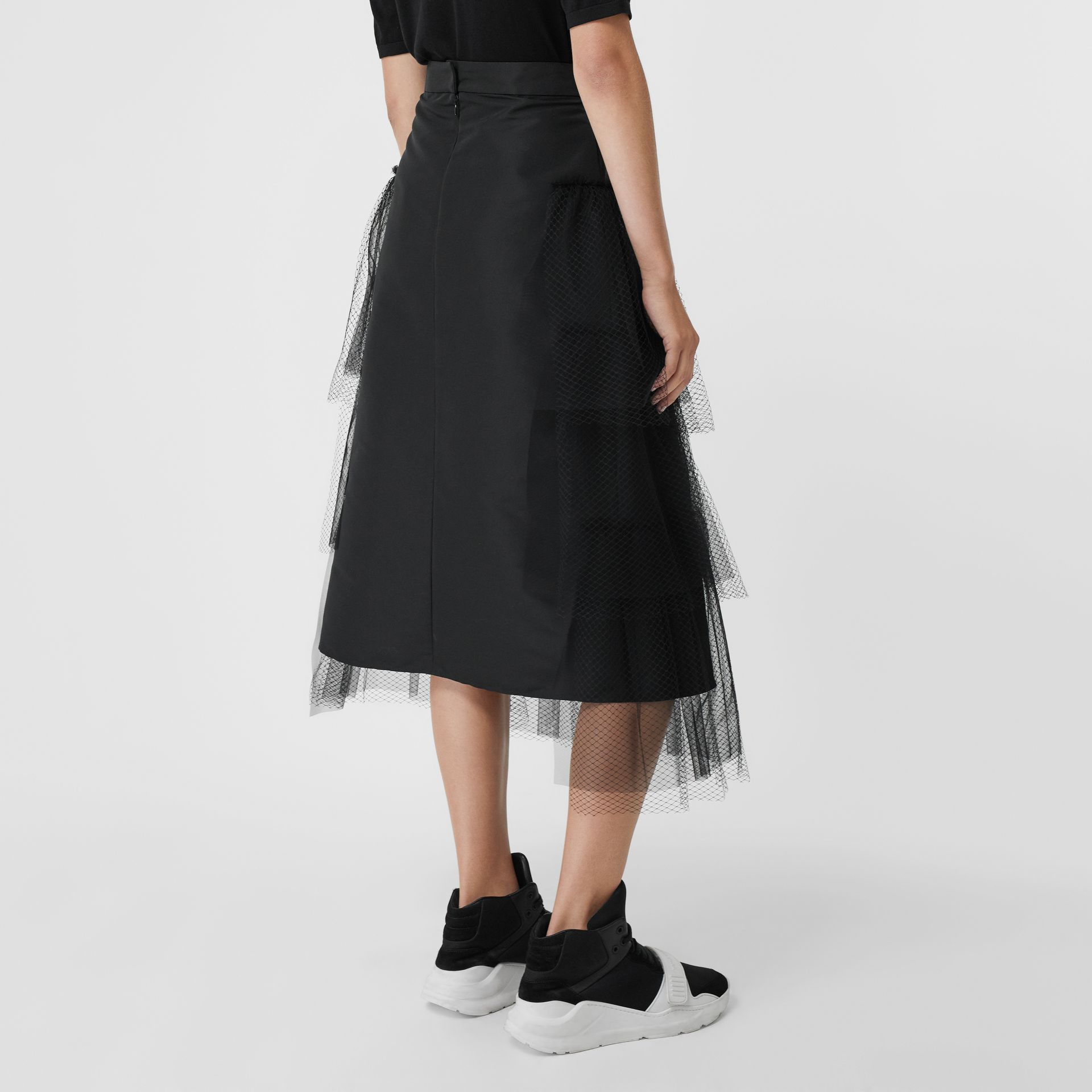 Tiered Tulle A-line Skirt in Black - Women | Burberry - gallery image 2