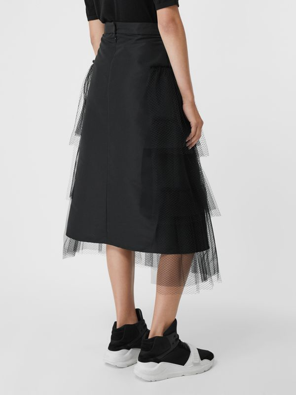 Tiered Tulle A-line Skirt in Black - Women | Burberry Canada - cell image 2