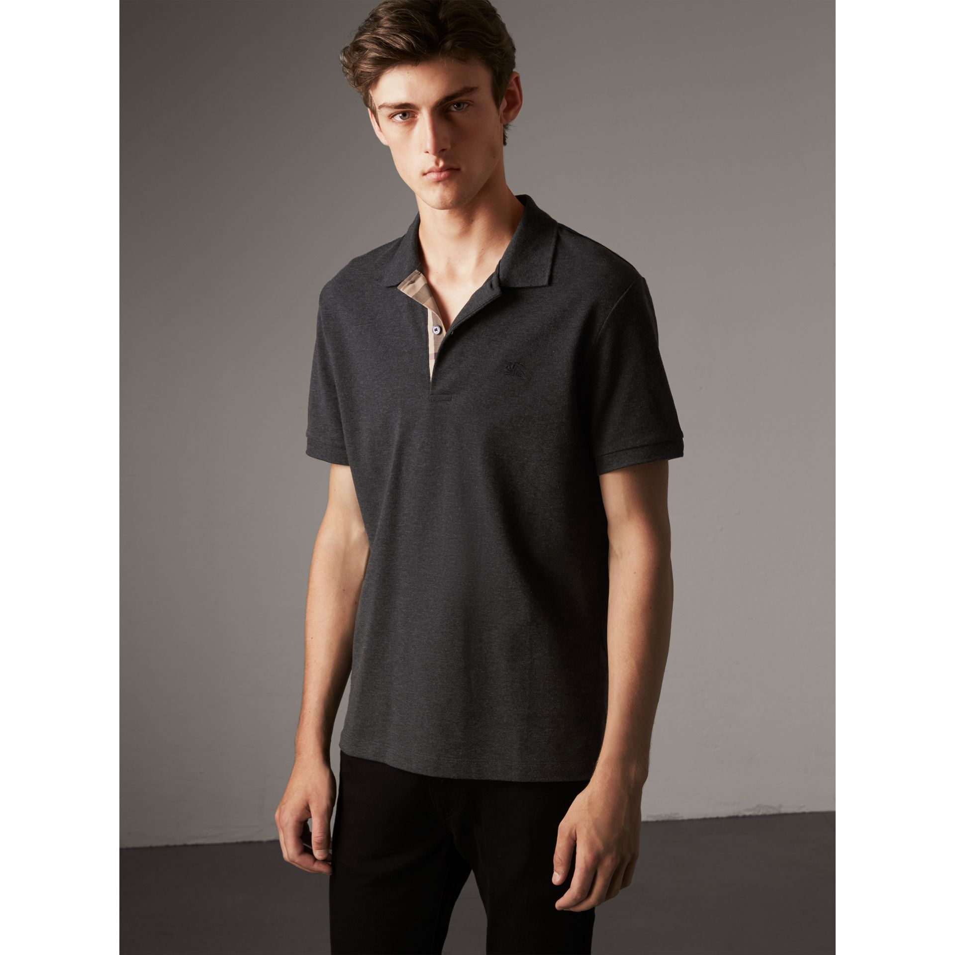 Check Placket Cotton Piqué Polo Shirt in Dark Charcoal Melange - Men | Burberry Hong Kong - gallery image 1