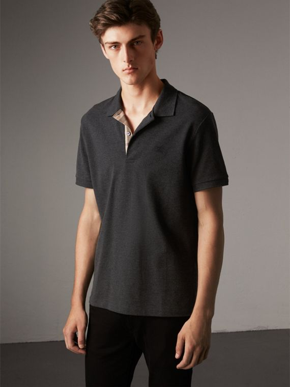 Check Placket Cotton Piqué Polo Shirt in Dark Charcoal Melange - Men | Burberry