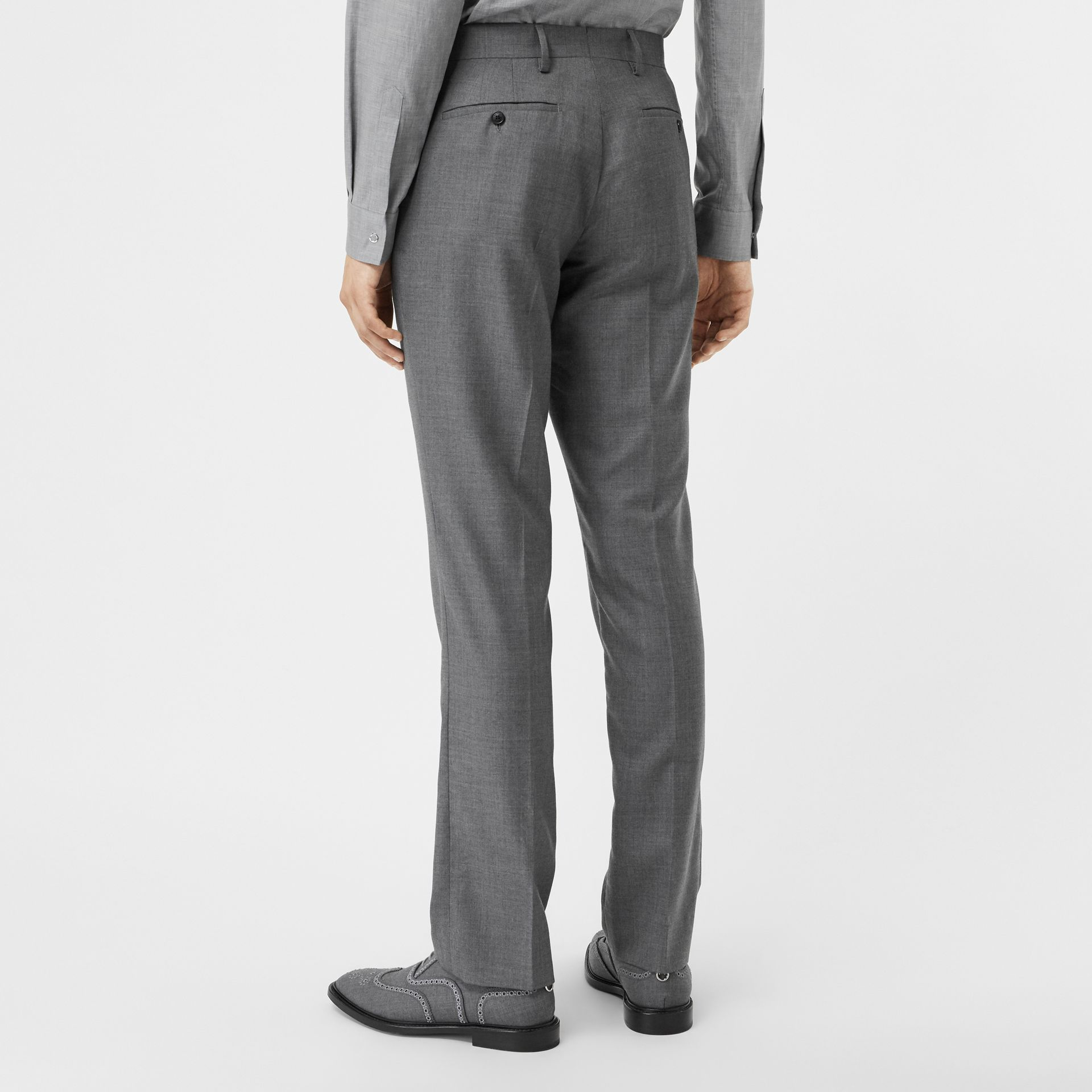 Classic Fit Metal Button Wool Tailored Trousers in Light Grey | Burberry - gallery image 2