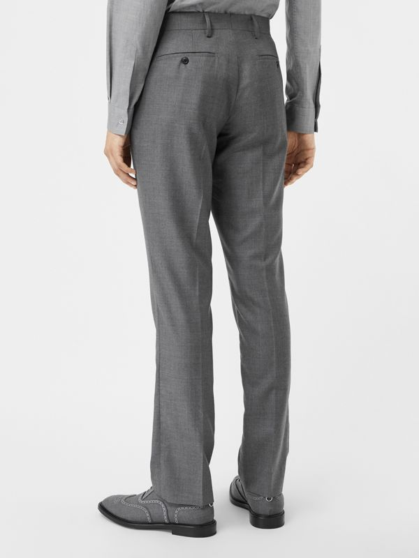 Classic Fit Metal Button Wool Tailored Trousers in Light Grey | Burberry - cell image 2