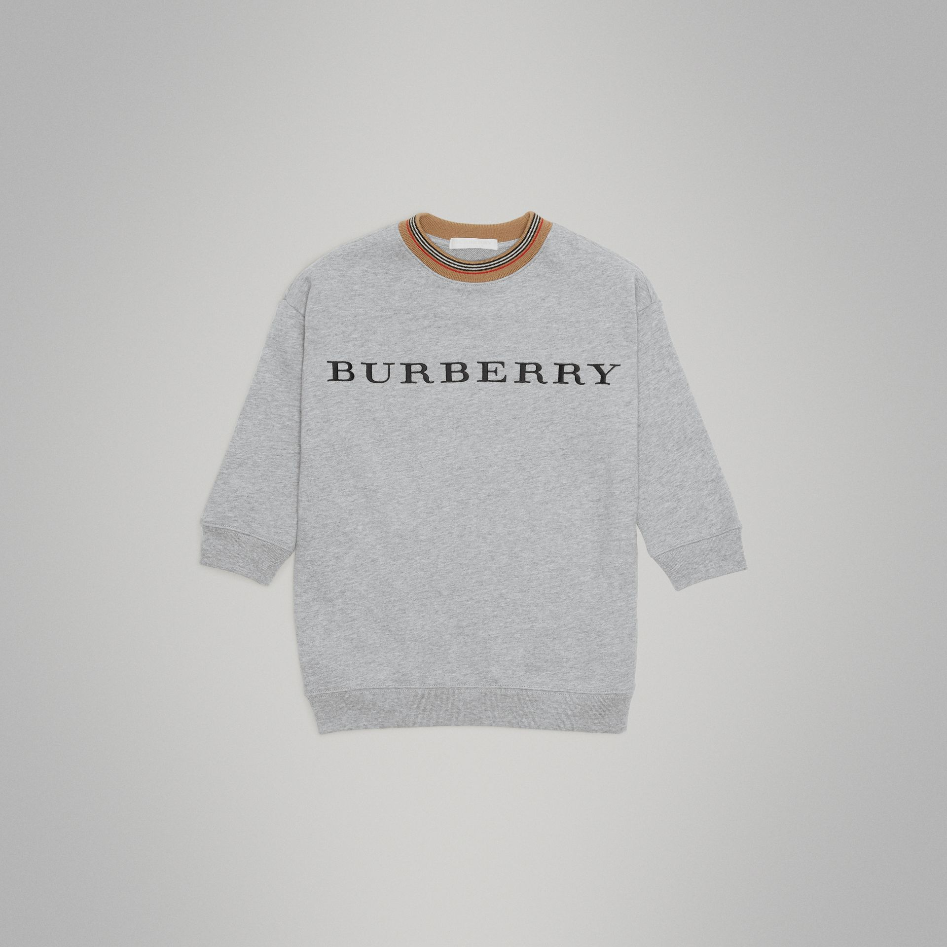 Embroidered Logo Cotton Dress in Grey Melange | Burberry Hong Kong - gallery image 0