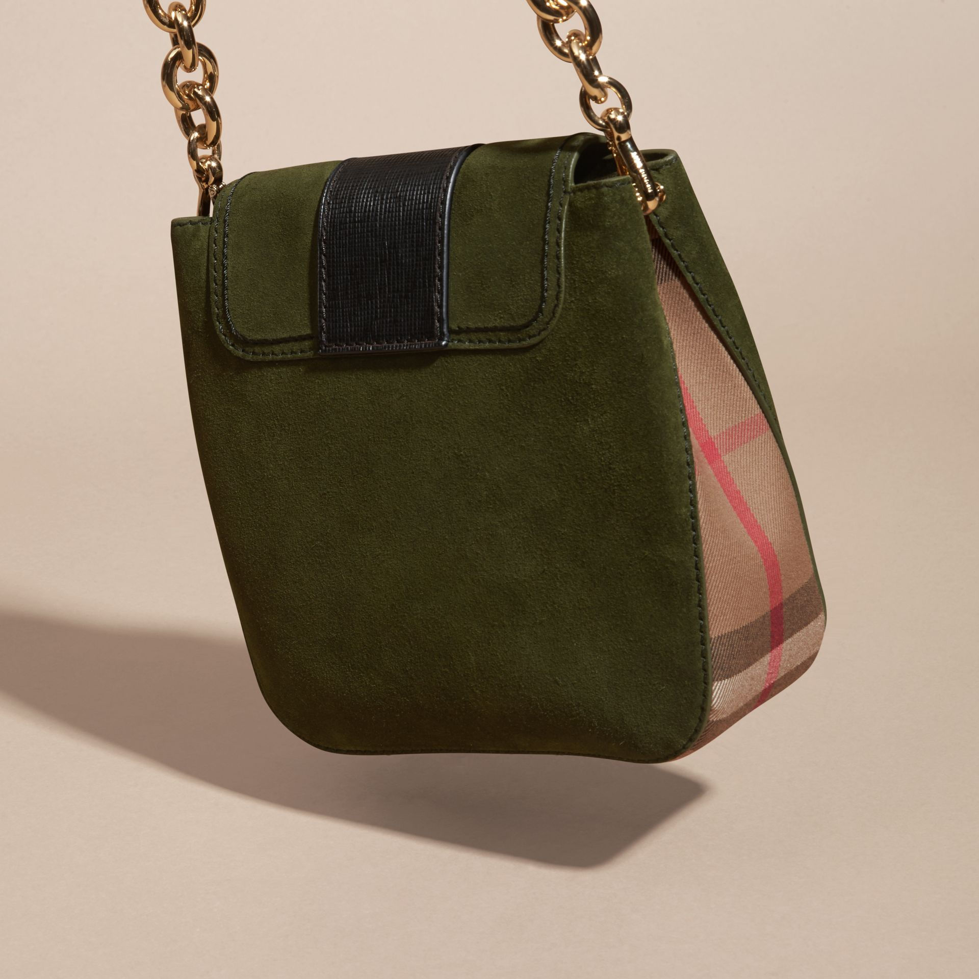 Military green The Medium Buckle Bag – Square in English Suede and House Check - gallery image 4