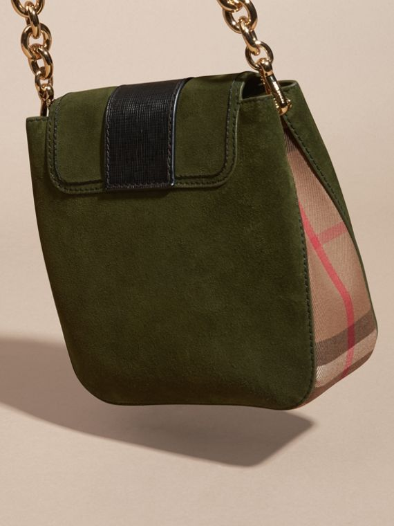 Verde militare Borsa The Buckle media quadrata in pelle scamosciata inglese e motivo House check - cell image 3