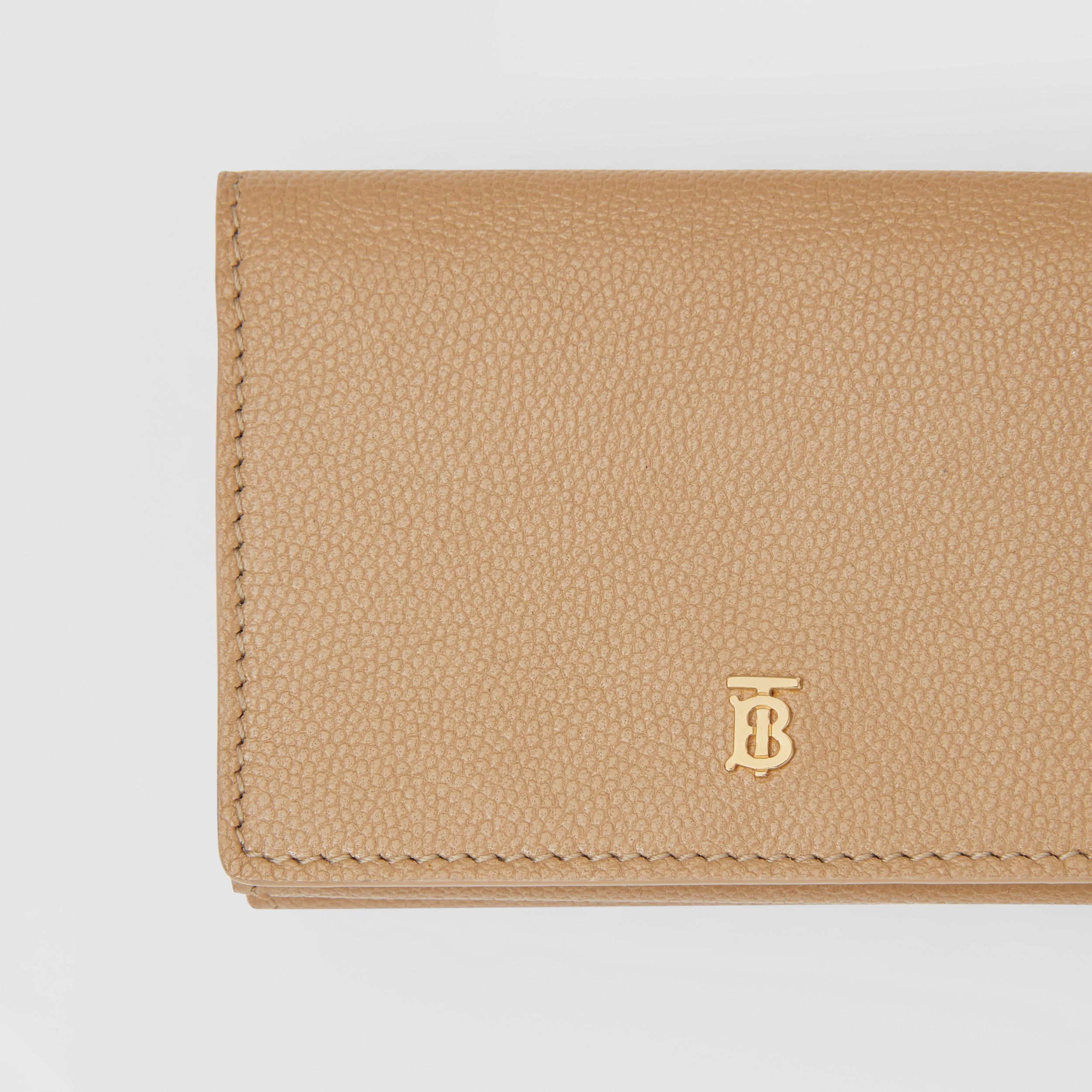 Small Grainy Leather Folding Wallet in Archive Beige - Women | Burberry - 2