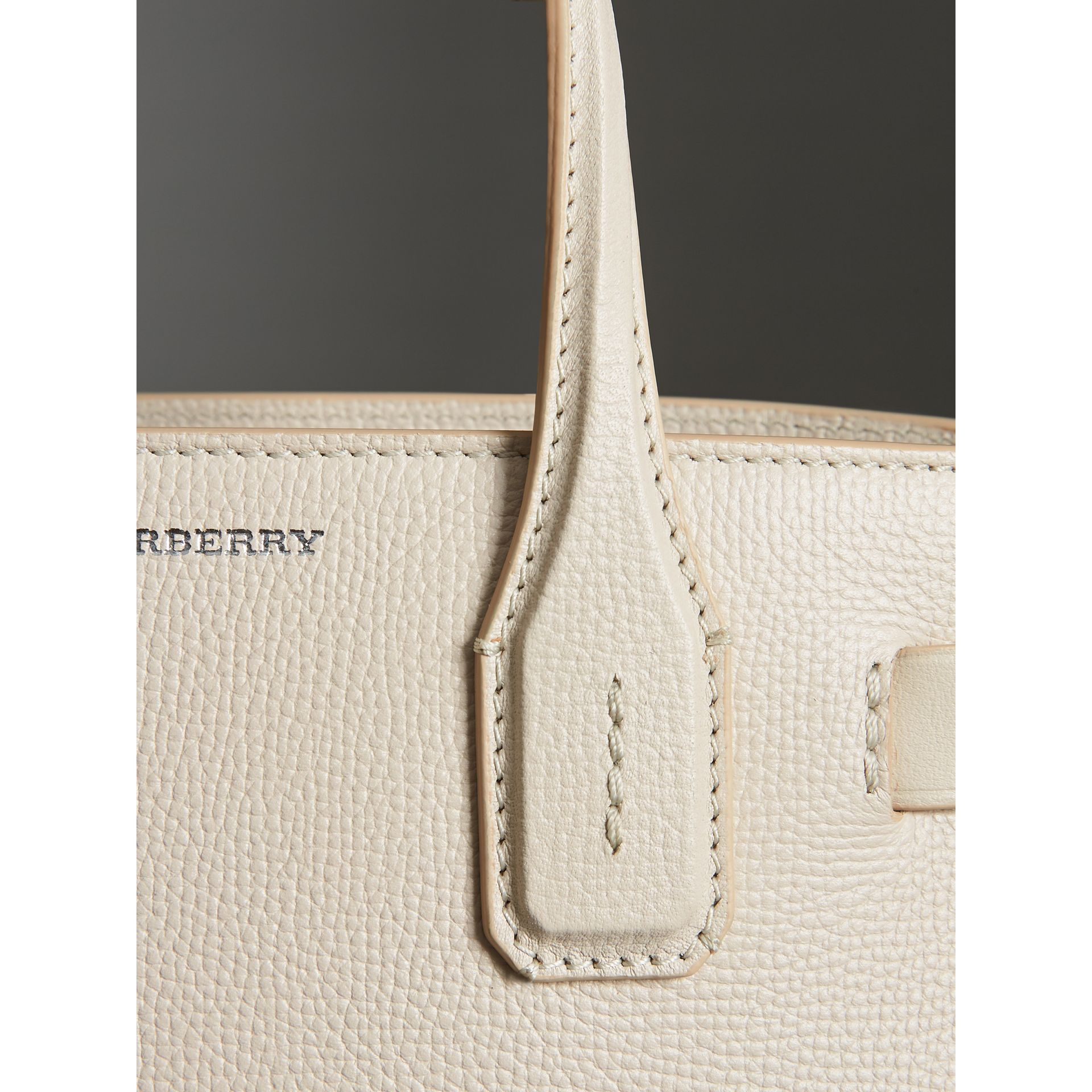 The Small Banner in Leather and Vintage Check in Limestone - Women | Burberry Singapore - gallery image 1