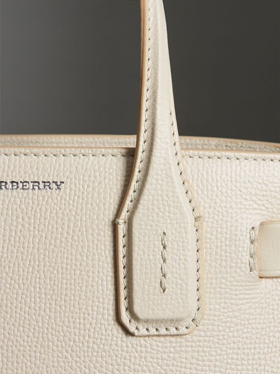 The Small Banner in Leather and Vintage Check in Limestone - Women | Burberry Singapore - cell image 1