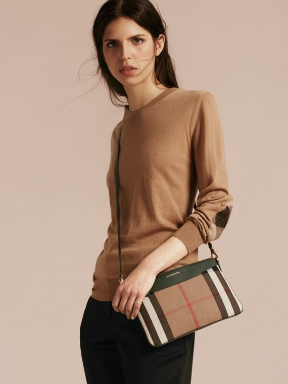 House Check and Leather Clutch Bag in Dark Bottle Green - cell image 3